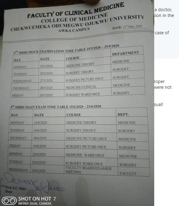 The circular from Chukwuemeka Odumegwu Ojukwu University